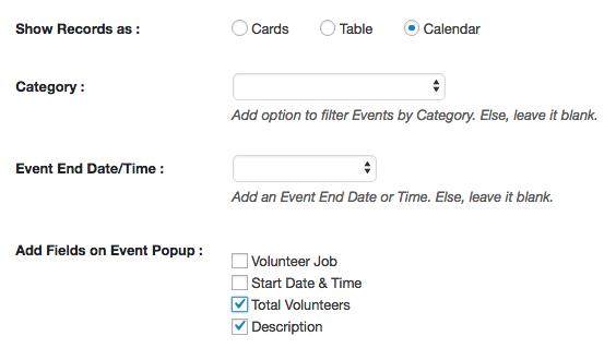calendar popup salesforce volunteer wordpress website integration