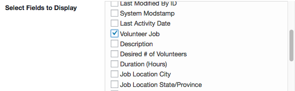 fields volunteer salesforce wordpress volunteer